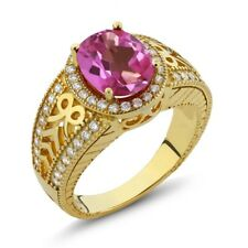 3.22 Ct Oval Pink Mystic Topaz 14K Yellow Gold Ring