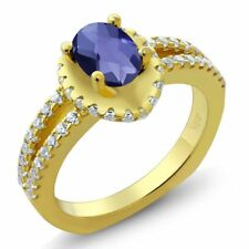 1.16 Ct Oval Checkerboard Blue Iolite 18K Yellow Gold Ring