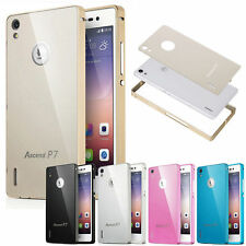 Luxury Aluminium Metal Bumper Frame + Acrylic Cover Case For Huawei Ascend P6 P7