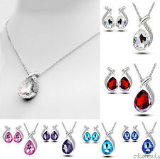 Chic Crystal Pendant Chain Necklace Stud Silver Plated Earring Jewelry Set topcl