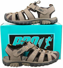 Mens New Taupe Velcro Closed Toe Trail Holiday Beach Sandals Size7 8 9 10 11 12