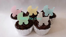 50 Edible Baby Pram Baby Shower Cupcake Topper Cake Decoration Mixed Colour Opt