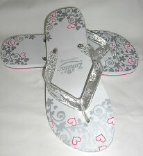 ZOHULA 'Just Married' White Patterned Flip Flops with Organza Bag -S/M/L