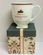 NEW DOWNTON ABBEY WHAT IS A WEEKEND QUOTE VIOLET MUG NIB WORLD MARKET with BOX