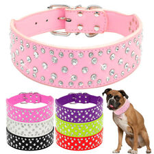 "2.0"" Wide Shiny Rhinestone PU Leather Pet Dog Collar for Medium Large Dogs"