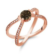 """1.38 Ct Round Brown Smoky Quartz 18K Rose Gold Plated Silver """" X """" Ring"""