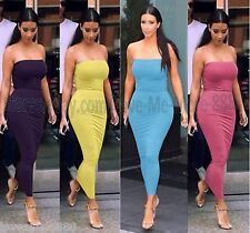 WOMENS Tube Strapless Stretch PLAIN basic fit bodycon CLUBWEAR LONG MAXI DRESS