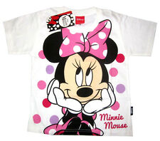 Girls DISNEY MINNIE MOUSE white cotton summer t-shirt S-XL Age 4-9 yrs Free Ship