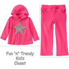 NWT Crazy 8 Girls Size 3T 4T Fleece Pants & Zip-Up Jacket Hoodie 2-PC OUTFIT SET