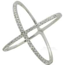 925 Sterling Silver CZ Criss Cross X Ring Micro PAVE