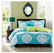 NEW Bed Bag Twin XL Full Queen 5 pc Teal Blue Green White Damask Comforter Set