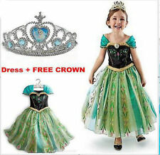 KIDS FROZEN ELSA ANNA PRINCESS DRESS COSTUME PARTY FANCY SNOW QUEEN GREEN DRESS