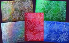 Stickers Shiny Holographic Stars in Stars Blue Red Gold Silver Green Mini Sheet