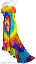 Rainbow Tie Dye Dress High Low Sundress Ruffles Summer Beach NEW Womens S M L