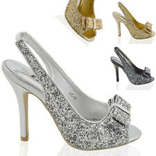 WOMENS STILETTO HIGH HEEL SPARKLY LADIES SLINGBACK BRIDAL PROM SANDALS SHOES