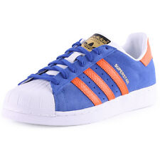 Adidas Superstar East Womens Suede Blue Orange Trainers New Shoes All Sizes
