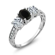 1.92 Ct Oval Black Onyx White Topaz 925 Sterling Silver Ring
