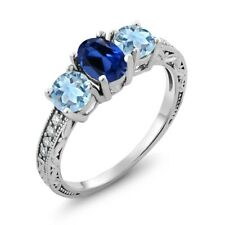 2.02 Ct Oval Blue Simulated Sapphire Sky Blue Topaz 925 Sterling Silver Ring