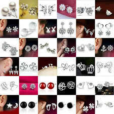 Fashion New Women 925 Sterling Silver Crystal Rhinestone Ear Stud Earrings C0029