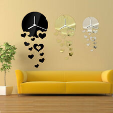 DIY 3D Orologio da Parete Acrylic Heart Mirror Wall Clock Home Office Decor Gift