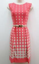 Tahari ANA Coral Taupe Polka Don Stretch Jersey Belted Cocktail Career Dress NEW
