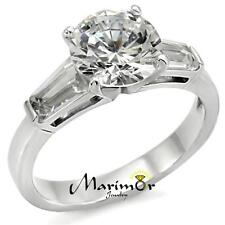 3 Ct Round & Baguette Cut CZ Stainless Steel Engagement Ring Women's Size 5-10