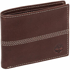 Timberland Mens Leather Logo Embossed Sports Quad Pebbled Bifold Wallet
