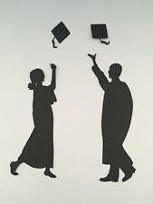 6 GRADUATES THROWING HATS MALE FEMALE SILHOUETTES TOPPERS EMBELLISHMENTS COLOURS