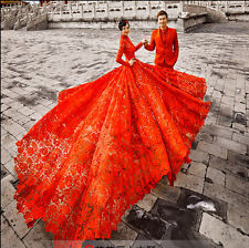 women's style red large tail long sleeve lace wedding dress magnificent studio