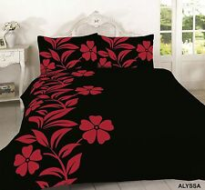 NEW Alyssa Floral Duvet Set Quilt Bed cover single double king modern black red