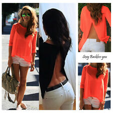 New Womens Sexy Ladies Summer Loose Casual Chiffon Backless T Shirt Blouse Tops