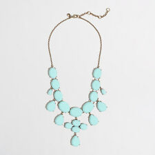 J.Crew Factory Crystal Teardrop Stone Gold Tone Chain Statement Necklace, NWT