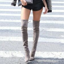 New Ladies High Heel Pointed Toe Over The Knee High Boots Shoes Black Size 4 5 6