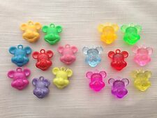 4 x MICKEY MINNIE MOUSE ~ OPAQUE TRANSPARENT PENDANT CHARM BEADS ~ MIXED COLOUR