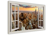 NEW YORK CITY 3D WINDOW BAY VIEW FRAMED CANVAS PRINTS WALL ART PICTURES DECOR