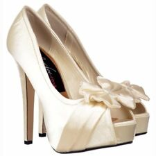 WOMENS IVORY SATIN PEEP TOE SHOES STILETTO HEELS BRIDAL WEDDING PROM SIZE 3-8