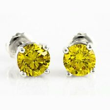 4.00 Ct Fancy Canary Yellow Round Diamond Studs Earrings Man Made 14k SE05101562