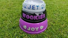 personalised pet dog cat bowl, with hand attached crystals
