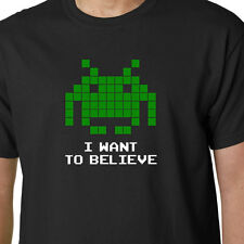 I Want To Believe SPACE INVADERS t-shirt ARCADE SEGA GAME ALIENS UFO FUNNY GEEK