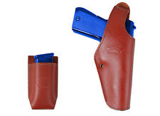 New Barsony Burgundy Leather Belt OWB Holster + Mag Pouch Taurus Full Size 9mm