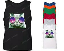 Galaxy Sunglass Cat Men's Tank Top Hipster Cat tops janis joplin kitten grumpy