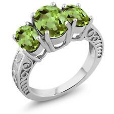3.40 Ct Oval Green Peridot 925 Sterling Silver Ring