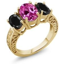 4.54 Ct Pink Created Sapphire Black Sapphire 18K Yellow Gold Plated Silver Ring