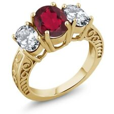 4.80 Ct Oval Red Mystic Quartz 18K Yellow Gold Plated Silver Ring