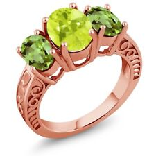 3.25 Ct Oval Yellow Lemon Quartz Green Peridot 18K Rose Gold Plated Silver Ring