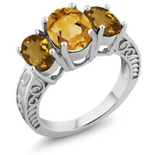 2.90 Ct Oval Yellow Citrine Whiskey Quartz 925 Sterling Silver Ring