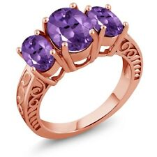3.16 Ct Oval Purple Amethyst 18K Rose Gold Plated Silver Ring