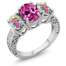 4.00 Ct Pink Created Sapphire Mercury Mist Mystic Topaz 925 Sterling Silver Ring