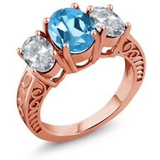 3.70 Ct Oval Swiss Blue Topaz White Topaz 18K Rose Gold Plated Silver Ring