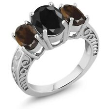 4.04 Ct Oval Black Sapphire Brown Smoky Quartz 925 Sterling Silver Ring